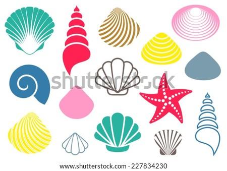 Set of various colorful sea shells and starfish - stock vector