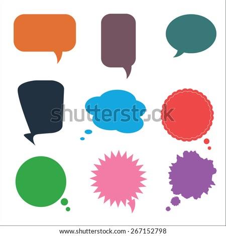 Set of Various Colorful Speech Bubbles, Vector - stock vector