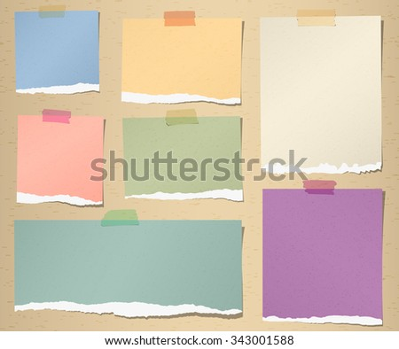 Set of various colorful torn note papers with adhesive tape on brown background - stock vector
