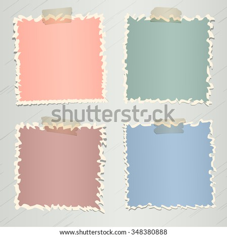 Set of various colorful torn note papers with adhesive tape on gray background - stock vector
