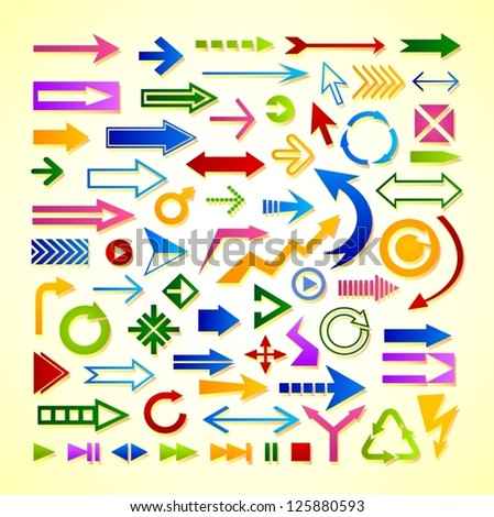 Set of various colorful vector arrows.