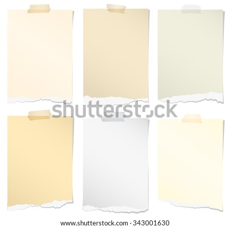 Set of various colors torn note papers with adhesive tape on white background - stock vector