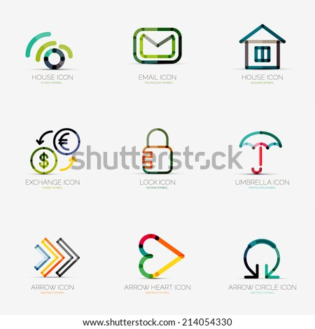 Set of 9 various company logos, business icons. Wifi email home house currency exchange lock security protection umbrella arrow right next heart like social arrow circle round rotation - stock vector