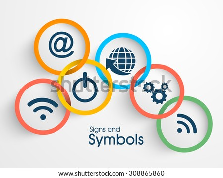 Set of various creative web signs and symbols on gray background. - stock vector