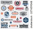 Set of various crossfit logo and WOD graphics and icons - stock vector