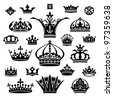set of various crowns isolated on white - stock vector