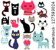 Set of various cute cats - stock vector