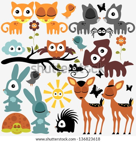 Set of various cute funny animals - stock vector
