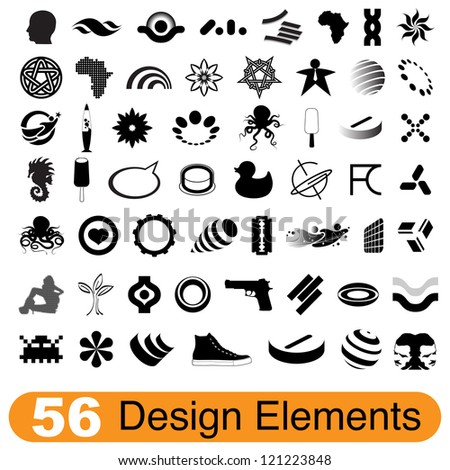 Set of 56 various design elements for print and web - stock vector