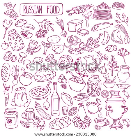 Set of various doodles, hand drawn rough simple Russian cuisine food sketches.  - stock vector