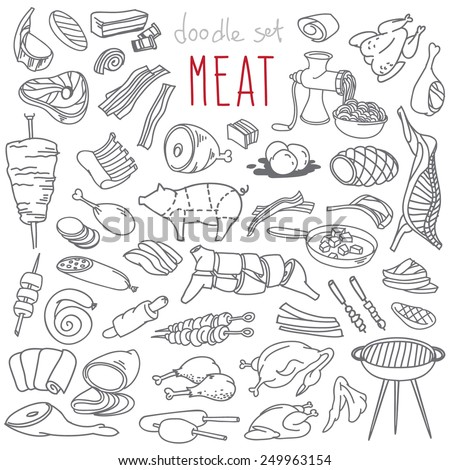 Set of various doodles, hand drawn rough simple sketches of different kinds and parts of meat. Vector freehand illustration isolated on white background.