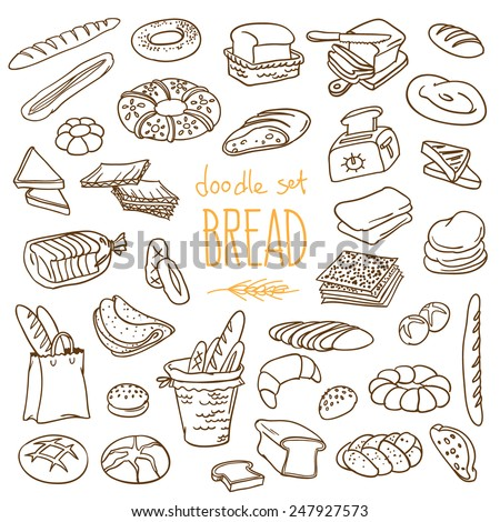 Set of various doodles, hand drawn rough simple sketches of different kinds of bread. Vector freehand illustration isolated on white background.