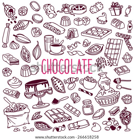 Set of various doodles, hand drawn rough simple sketches of different kinds of cocoa and chocolate production. Vector freehand illustration isolated on white background.