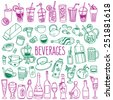 Set of various doodles, hand drawn rough simple sketches of various types of alcoholic and non-alcoholic drinks. Vector freehand illustration isolated on white background. - stock photo