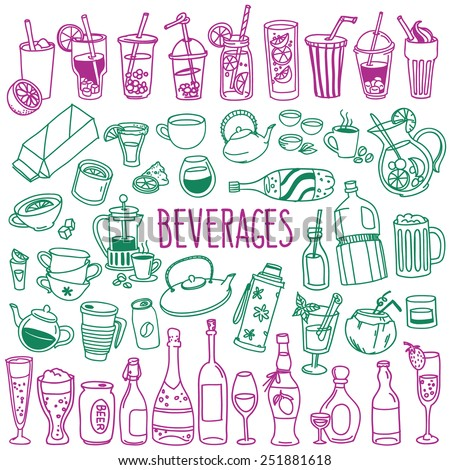 Set of various doodles, hand drawn rough simple sketches of various types of alcoholic and non-alcoholic drinks. Vector freehand illustration isolated on white background. - stock vector