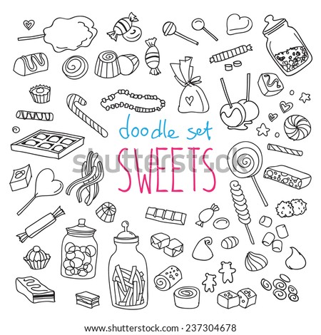 Set of various doodles, hand drawn rough simple sweets and candies sketches. Vector illustration isolated on white background - stock vector
