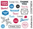 Set of various drawn and rendered Thank You graphics - stock photo