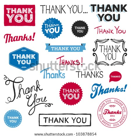 Set of various drawn and rendered Thank You graphics - stock vector