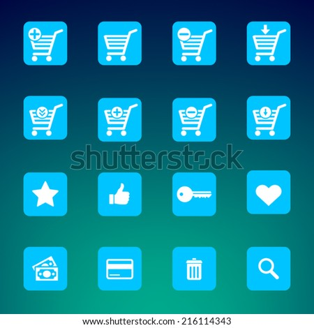 Set of various e-shop icons suitable for web or mobile applications - shopping carts, search, add, remove and much more.