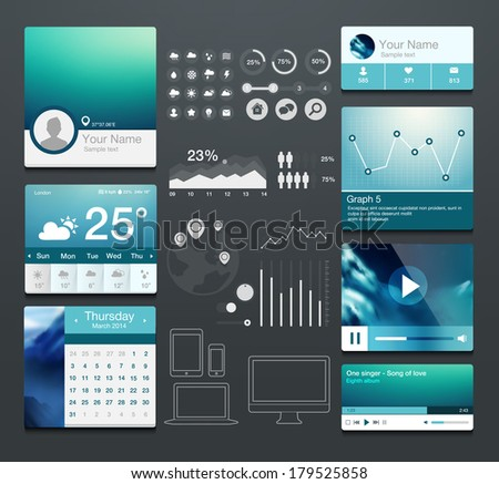 Set of various elements used for user interface - stock vector
