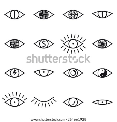 Set of Various Eye Icons on White Background Vector illustration - stock vector