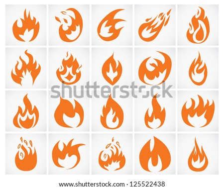Set of various fire elements. Vector illustration. - stock vector