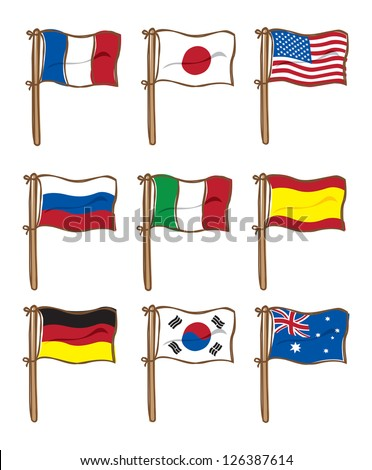 set of various flag - stock vector