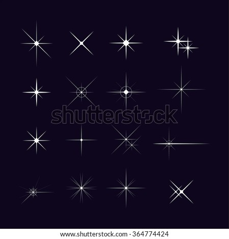 Set of various forms of sparks Vector starbursts symbols - stock vector