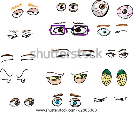 Set of 15 various forward-angle human and fantasy eyes for all uses. - stock vector