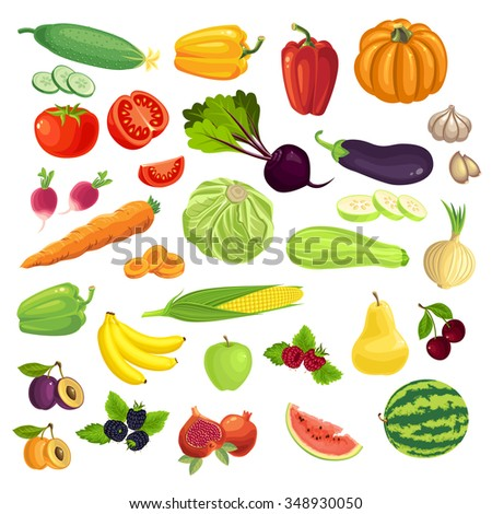 Set of various fruit, berry and vegetables isolated on white background - stock vector