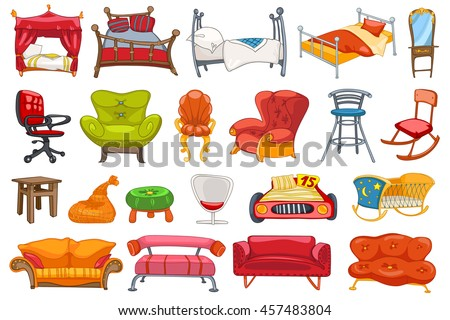 Set of various furniture such as sofa, armchair, bed, stool, office chair, rocking chair, cradle, couch, four-poster bed, dressing table and other. Vector illustration isolated on white background. - stock vector