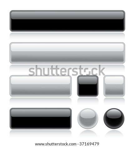 Set of various glossy web buttons in black and white - stock vector