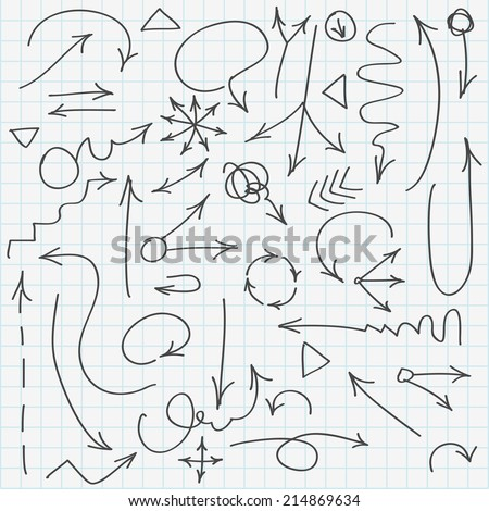 Set of various hand drawn arrows. Vector illustration, easy paste to any background. - stock vector