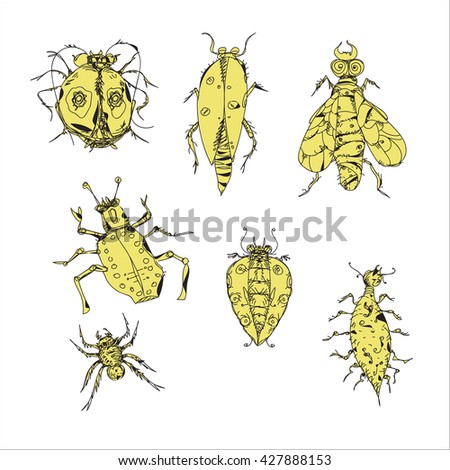 Set of various hand drawn insects, isolated on white
