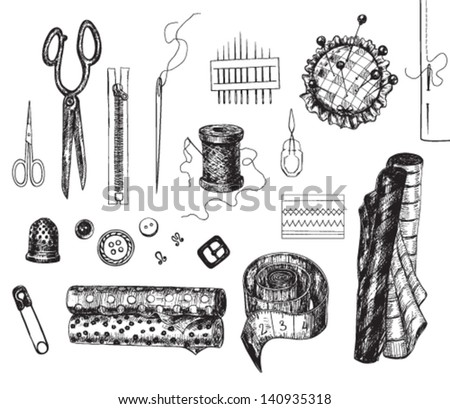 Set of various hand - drawn sewing related objects - stock vector