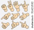 Set of various hand gestures. Detailed vector illustration, isolated elements no gradients used - stock vector