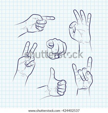 Set of various hand gestures, hand drawn sketch. Vector