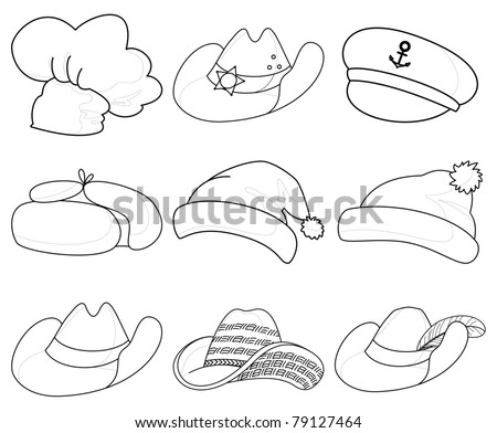 set of various hats: Santa Claus, cook, sheriff, musketeer, captain and others. Vector, contours