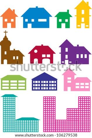 set of various house constructions in different colors isolated on white background