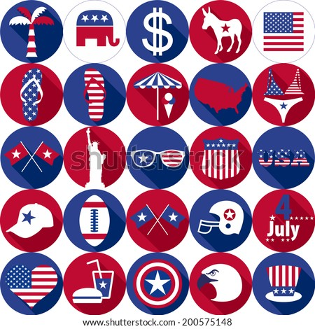 Set of various icon USA graphics design - stock vector