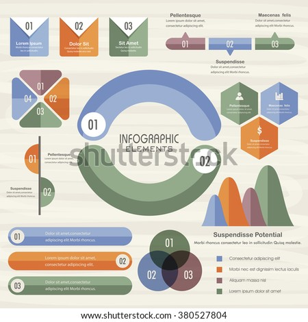 Set of various Infographic elements including statistical graphs for Business reports and presentation.
