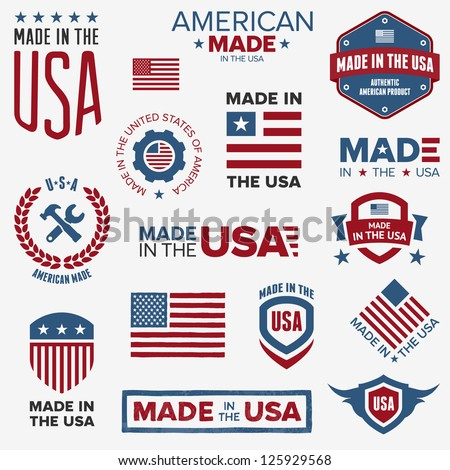 Set of various Made in the USA graphics and labels - stock vector