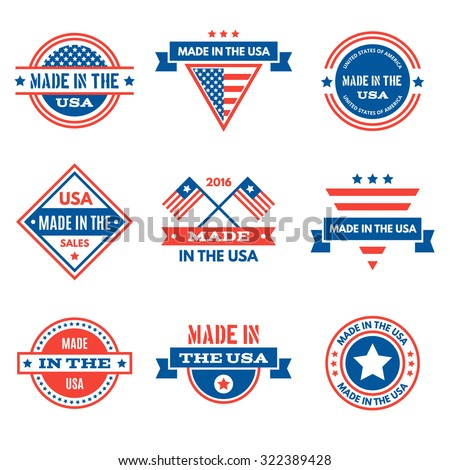 Set of various Made in the USA graphics and labels, emblems, symbols, icons and badges. Business signs, identity templates and design elements. - stock vector