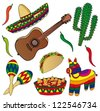 Set of various Mexican images - vector illustration. - stock vector