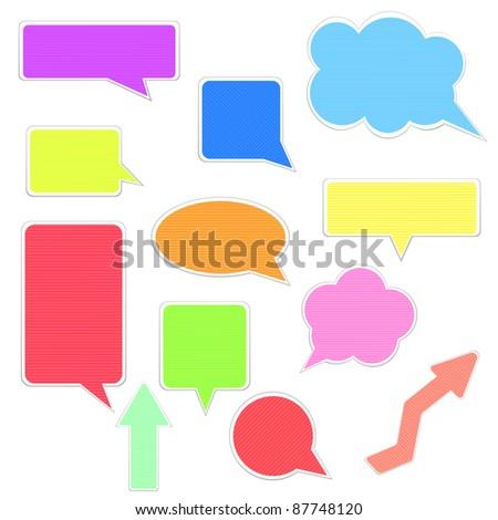 Set of various motley speech bubbles. Vector illustration on white background - stock vector