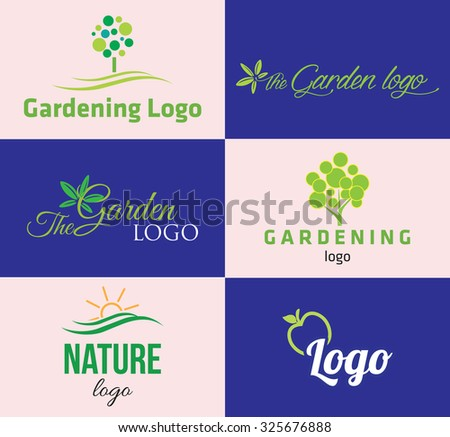 Set of various nature and gardening logo graphics - stock vector