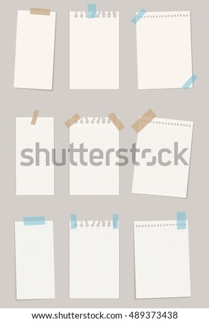 Set of various note papers. Vector illustration. Vector set. 10 EPS