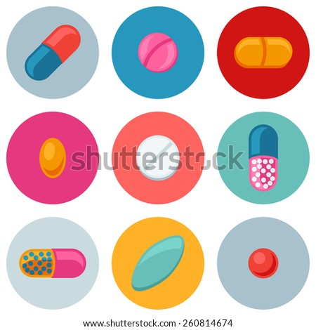 Set of various pills and capsules icons. - stock vector