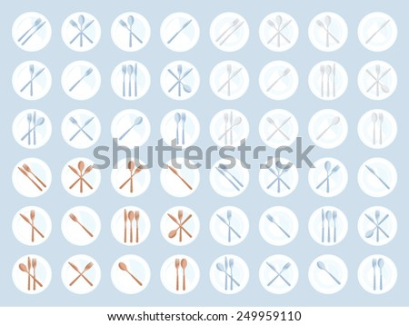 Set of various plates with cutlery - stock vector