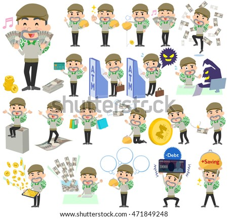 Set of various poses of Burglar man money